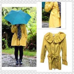 Vertigo Paris Women Trench Rain Coat Yellow Medium
